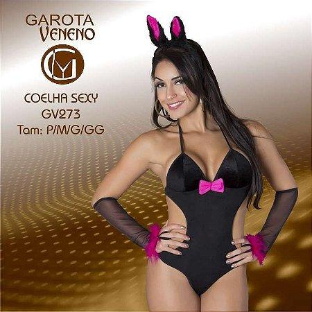FANTASIA FEMININA GAROTA VENENO COELHA SEXY