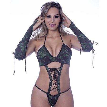 Kit fantasia body militar Sensual Love