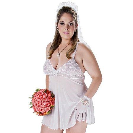Fantasia requinte plus size noivinha Hot Flowers
