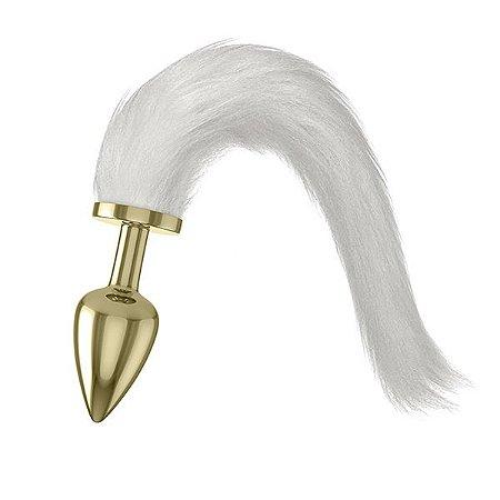Plug Tail em Metal com Rabo de Pelúcia - Dourado