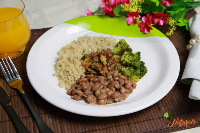 EQ16 - Strogonoff de alcatra light, arroz integral, feijão e brócolis refogado ao azeite e alho