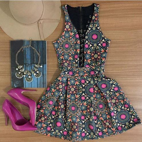 Vestido Sexy Moda Flor
