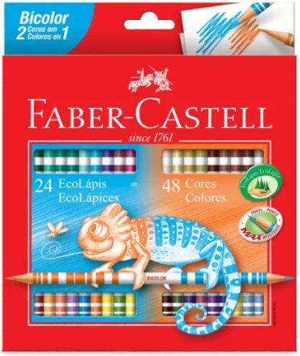54e3fec2a3 Lápis de Cor Bicolor FABER CASTELL 48 Cores - Toda Livraria e Papelaria