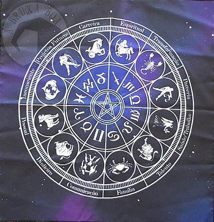 Toalha Mandala Astrológica (Altar/ Tarot/ Leitura de Oráculos)