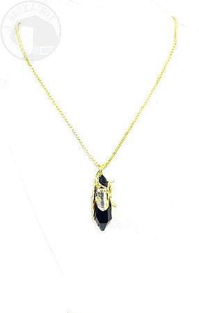 Amuleto Ponta de Obsidiana com Cristal