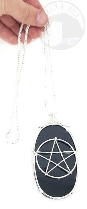 Amuleto Espelho Negro em Obsidiana com Detalhe de Pentagrama