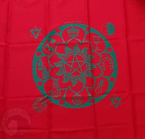 Kit de Toalha + Baralho de Cartas Ciganas + Bolsa para Baralho (Vermelha)