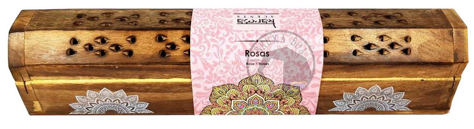 Incensário Baú de Madeira + Incensos de Rosas
