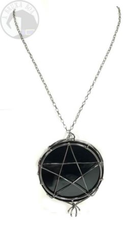 Espelho Negro - Obsidiana e Pentagrama