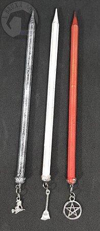 Conjunto 3 Lápis com Pingentes