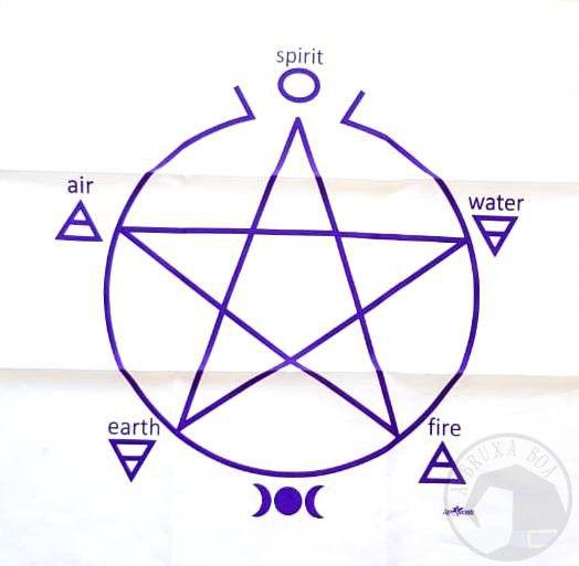 Toalha Pentagrama para Altar e Leitura de Oráculos (Branca)