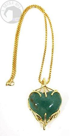 Amuleto - Coração de Quartzo Verde