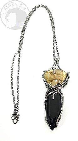 Amuleto com Obsidiana e Labradorita