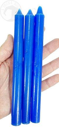 Vela Palito - Azul Escuro - Pacote com 3 Velas