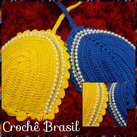 Biquíni de Crochê com Pérolas e Strass ( DIAMOND )