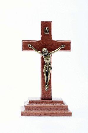 Crucifixo de Mesa - 7cm - Madeira + Medalha