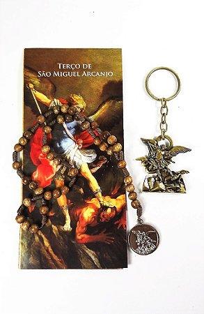 Terço de São Miguel Arcanjo - Madeira + Chaveiro