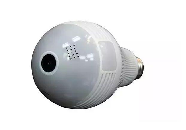 Lâmpada IP Espiã Câmera Ip 360° HD 1.3 Megapixel Panorâmica Led Wifi 3g Alarm