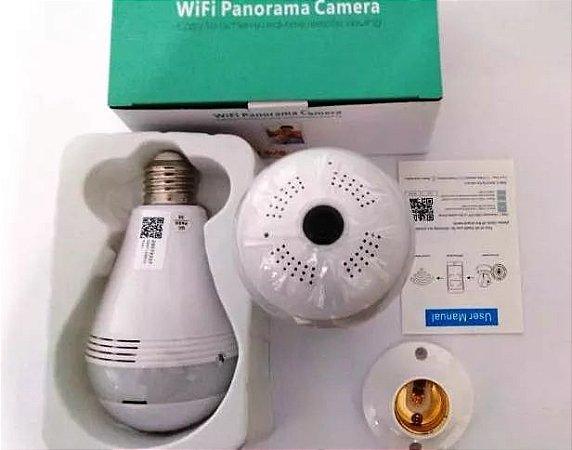 Lâmpada IP Câmera Espiã Led Wifi Hd 1.3 Megapixel Panorâmica 360º Infravermelho