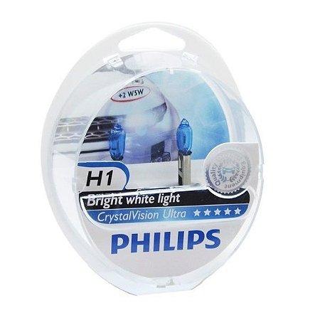 Lâmpada H1 Philips Crystal Vision Ultra Branca - Par (2 unidades)