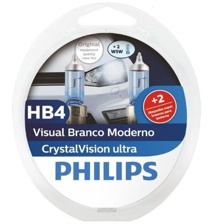 Lâmpada HB4 Philips Crystal Vision Ultra Branca - Par (2 unidades)