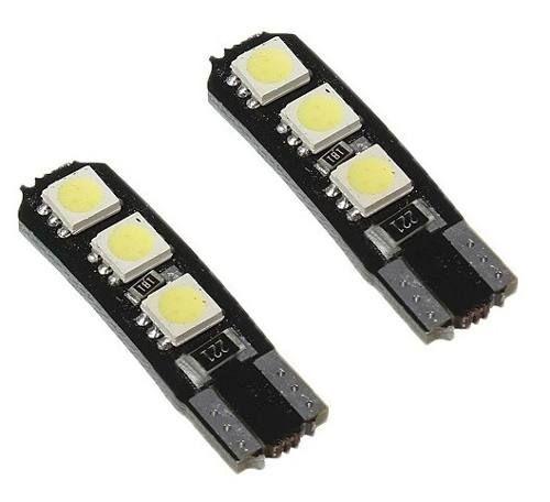 Lâmpada T10 CANBUS Branco 6 LED's (Pingo - W5W ) - Par (2 unidades)
