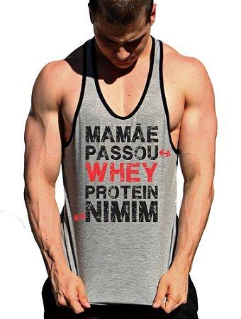 Regata Cavada Mamãe Passou Whey Protein Nimim com viés