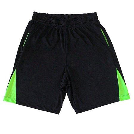 Bermuda DryFit Masculina Cor Preta Detalhe Verde Fluorescente