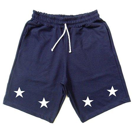 Bermuda de Moletinho Estrela Cor Azul Marinho