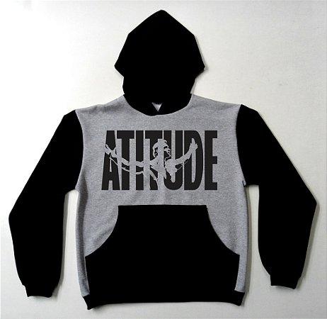 Blusa de Moletom Arnold Atitude cor cinza com manga preta