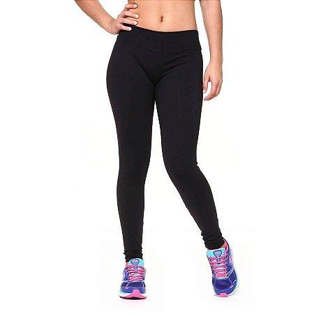 Calça Legging Suplex Fitness Cós Baixo Cor Preta