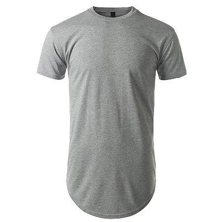 Camisa Longline cor Cinza Mescla
