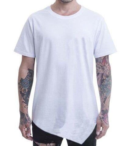 Camiseta Long Lisa Com Ponta Cor Branca