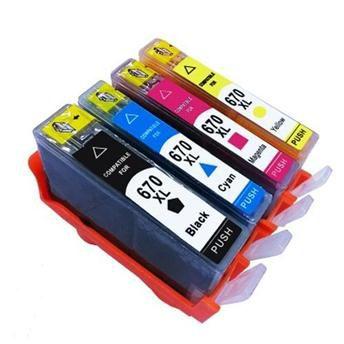 Kit Cartuchos Tinta 670XL HP CZ117AB, CZ118AB, CZ120AB e CZ119AB Preto, Ciano, Amarelo e Magenta Compativel