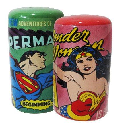 Saleiro e Pimenteiro DC Comics - Superman e Mulher Maravilha