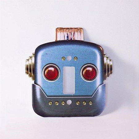 Espelho de Tomada Robô Vintage Azul