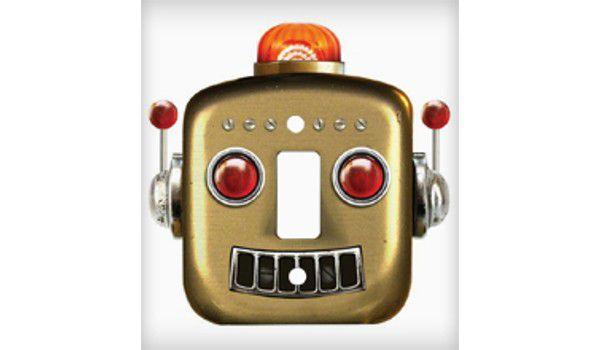 Espelho de Tomada Robô Vintage Dourado