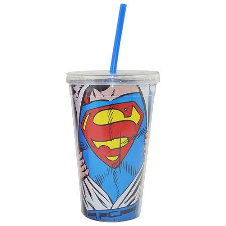 Copo Plástico com Tampa e Canudo DC Comics - Superman
