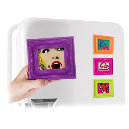 Kit com 3 Porta Retratos Magnéticos Coloridos - Laranja, pink e verde