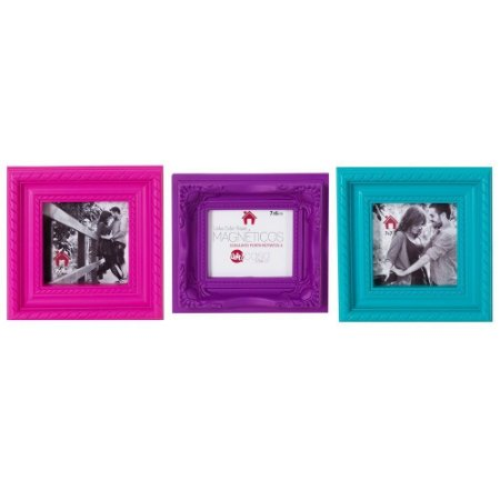 Kit com 3 Porta Retratos Magnéticos Coloridos - Turquesa, roxo e pink