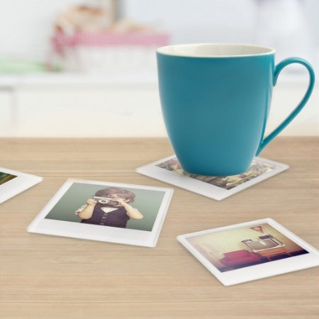 Set c/ 4 Porta-copos com Fotos tipo Polaroid