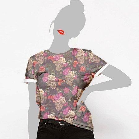 Camiseta Feminina, Caveira floral