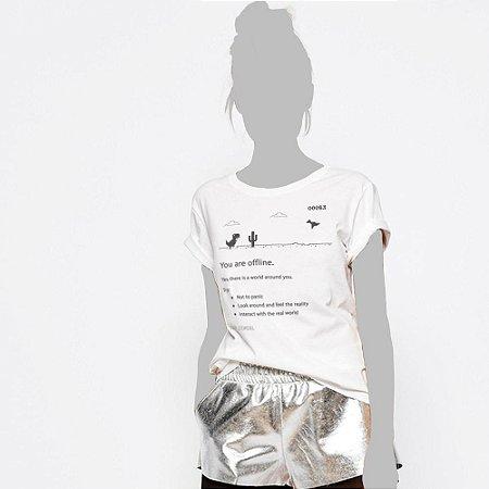 Camiseta Feminina, You are offline, dino