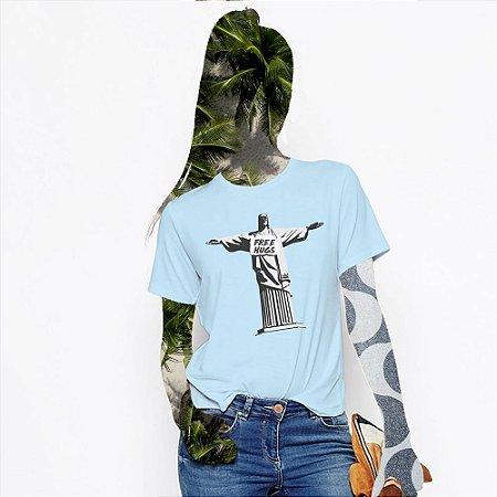 Camiseta Feminina,  JC Free Hugs, Redentor de braços abertos