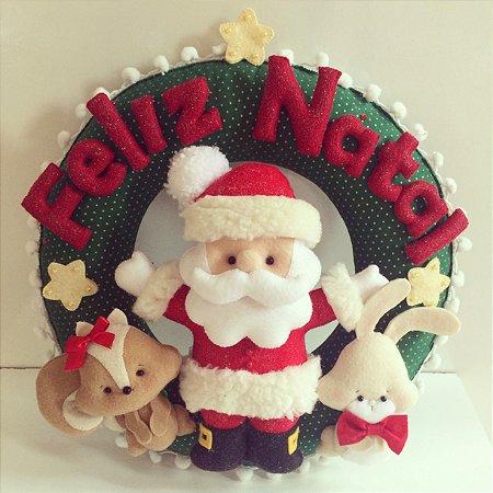 Guirlanda de Natal - Papai Noel e seus bichinhos