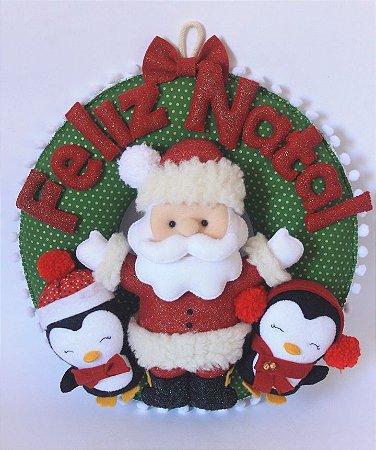 Guirlanda de Natal - Papai Noel e os Pinguins