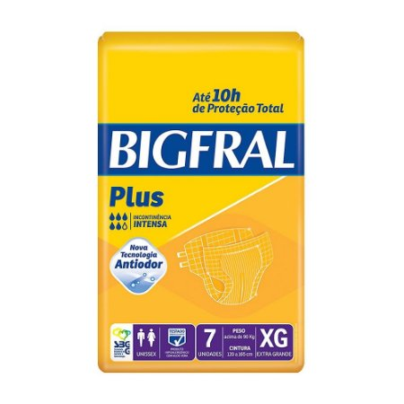 Fralda Geriátrica Bigfral Plus Extra Grande com 7 unidades
