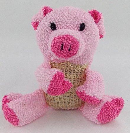 Esponja de banho infantil porquinho rosa