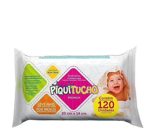 Lenços Umedecidos Piquitucho Premium com 120 unidades