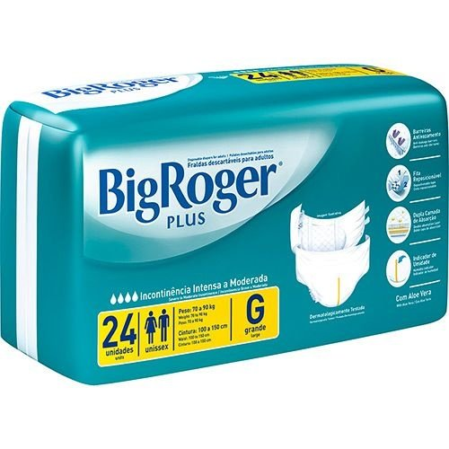 Fralda Geriátrica Big Roger Plus G com 24 fraldas